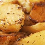 Lemon Roasted Potatoes with herbs. (Greek cuisine)