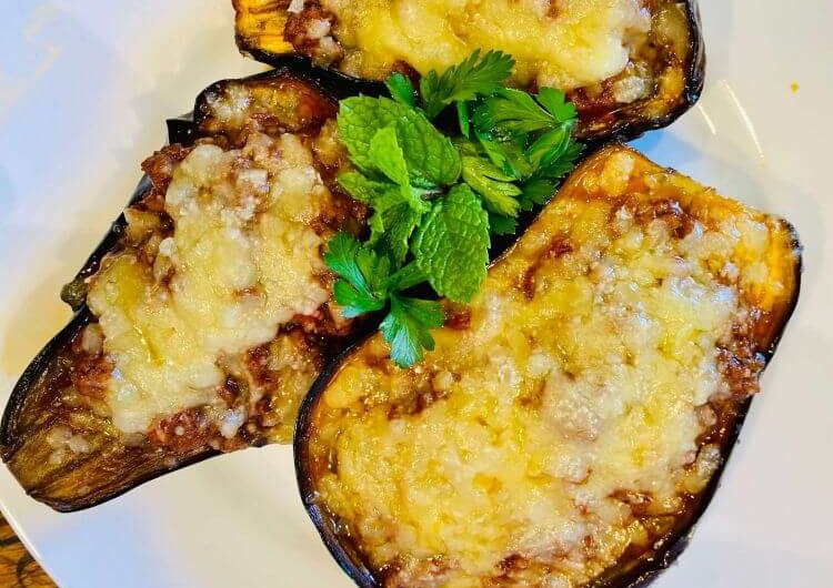 Greek baked eggplant recipe stuffed with mince, (Papoutsakia recipe)